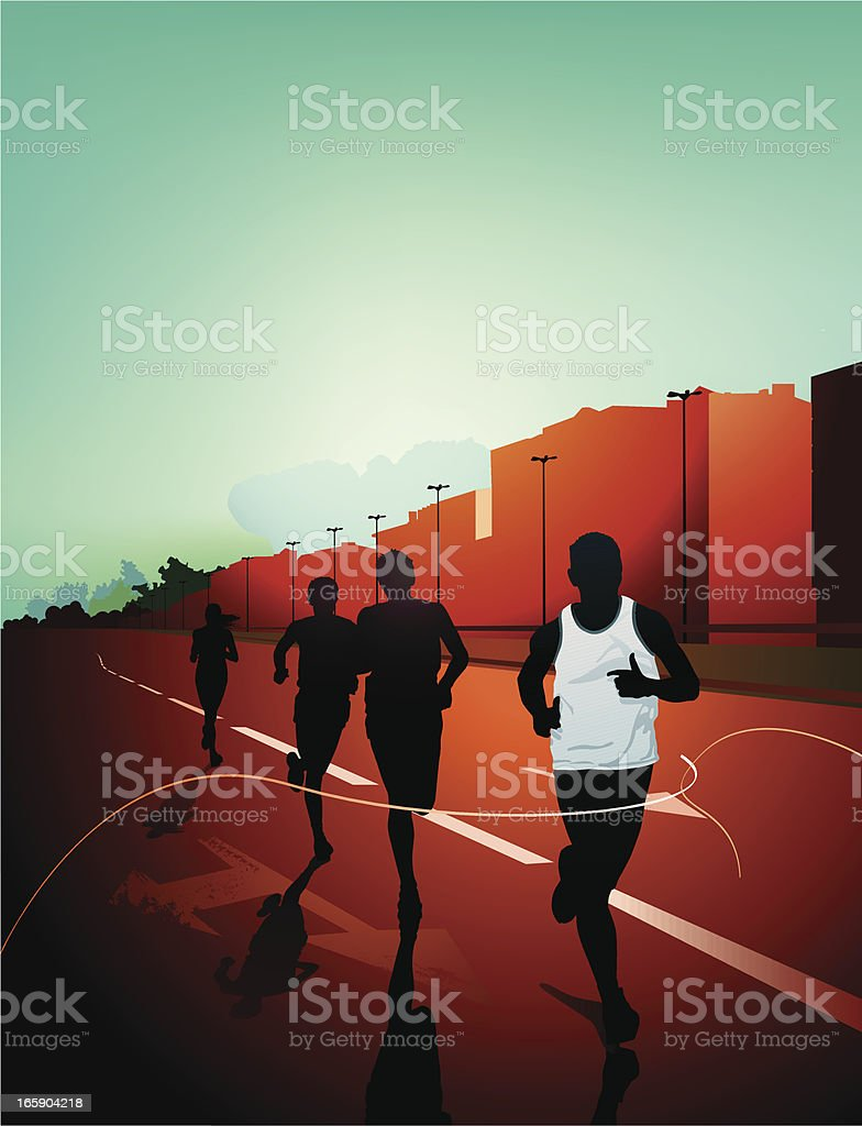 Digital illustration of people's silhouettes running in city royalty-free stock vector art