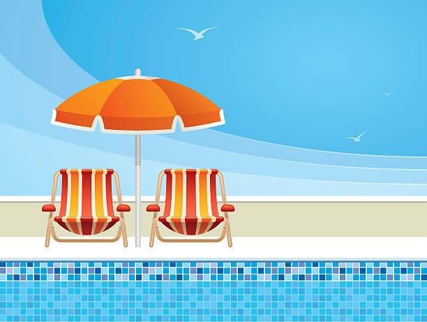 illustrations, cliparts, dessins animés et icônes de détente au bord de la piscine - transat