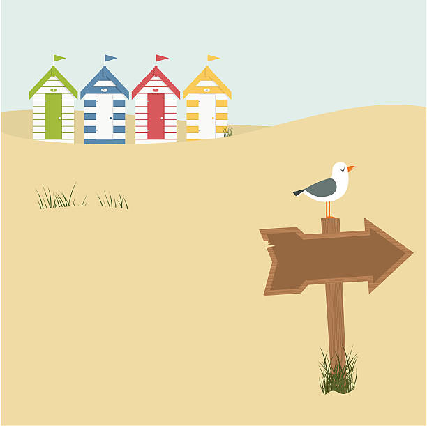 Digital illustration of several houses and a wood sign vector art illustration