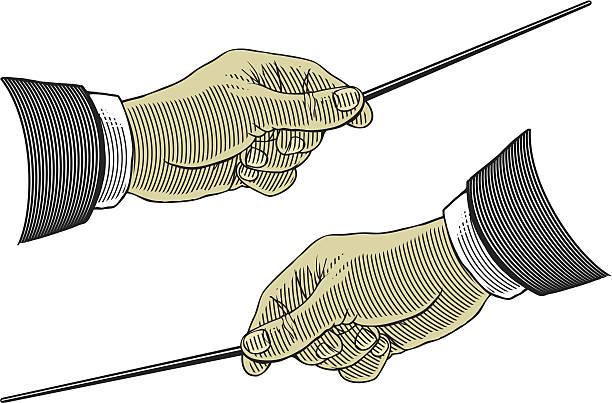 hand hält ein zeigt stick - bandleader stock-grafiken, -clipart, -cartoons und -symbole