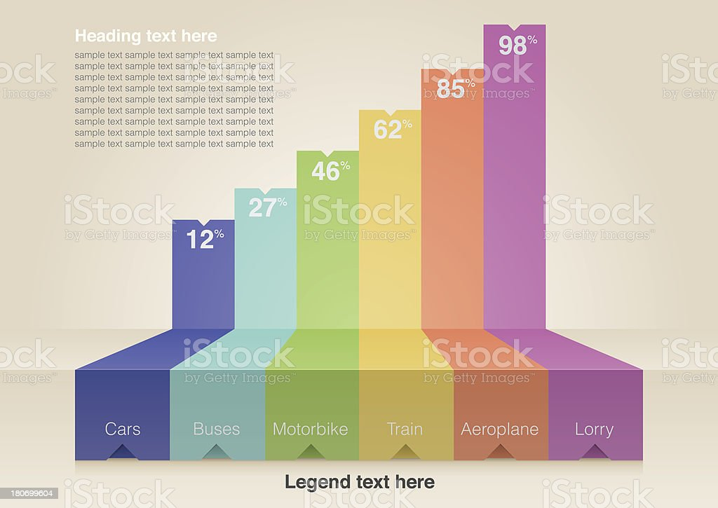 Digital image of bar chart infographic template vector art illustration