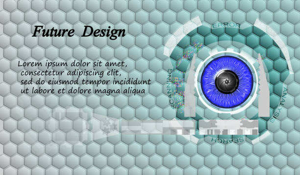 Digital image of blue eyes with a screen interface. Design for web. Head-up display. eps10. Digital image of blue eyes with a screen interface. Design for web. Head-up display. mississauga stock illustrations