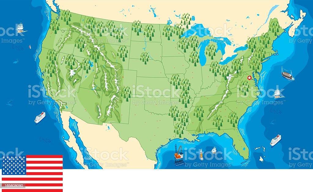 Digital Image Of Land And Sea Area Of Usa Map Stock Vector Art - Mapa de colorado usa