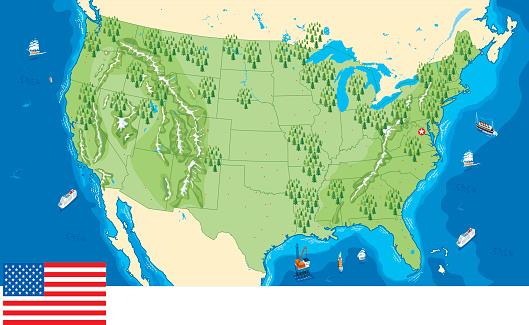Digital image of land and sea area of USA map