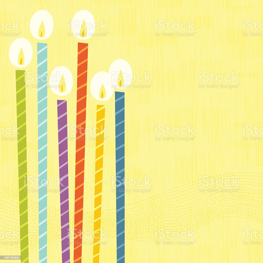 A digital image of six colorful lit birthday candles  vector art illustration