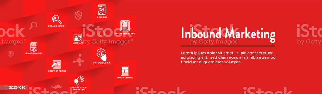 Digital Inbound Marketing Web Banner - Vector Icons with CTA, Growth,...