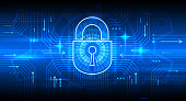 Digital information security concept with lock