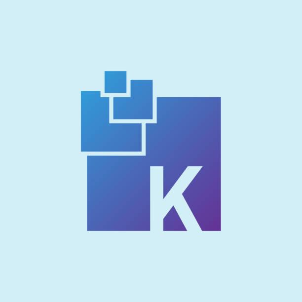digital initial Letter K icon design icon design for digital k logo stock illustrations
