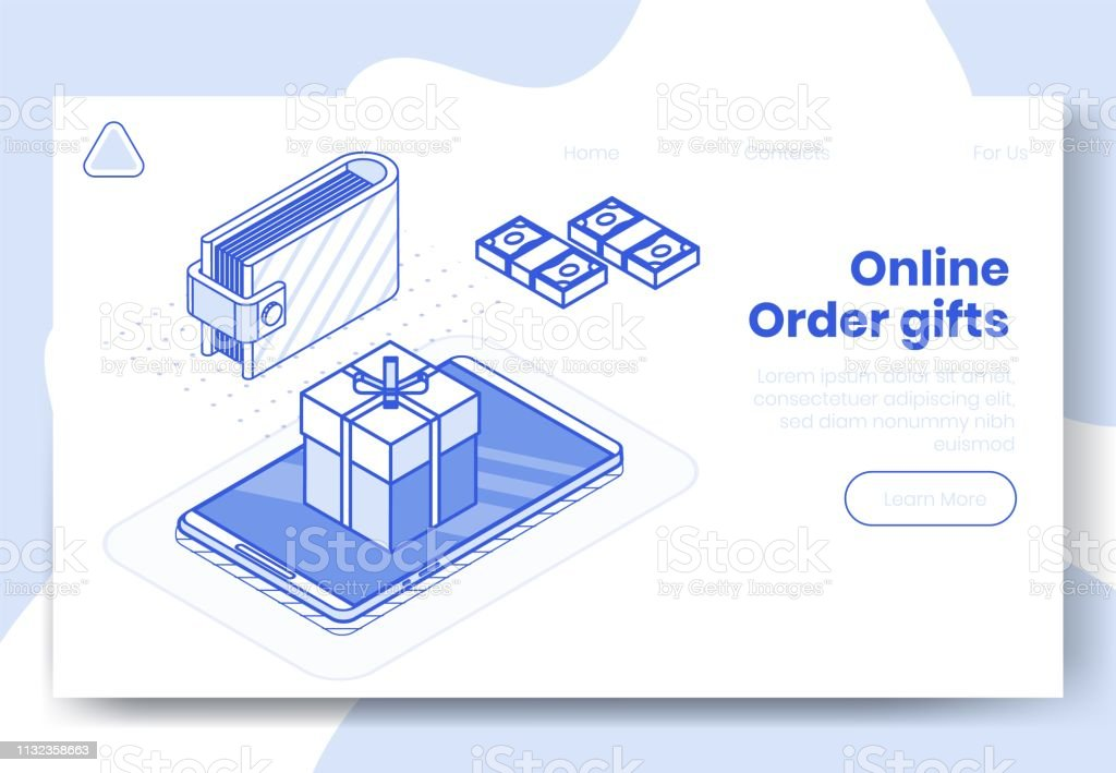 Digital Isometric Design Concept Set Of Online Order Gifts