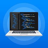 istock Digital java code text. Computer software coding vector concept. Programming coding script java, digital program code on screen illustration. Vector illustration. 1140434335