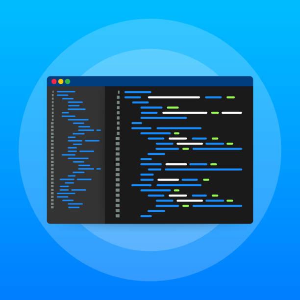 digitaler java-code-text. computersoftware codierung vektorkonzept. programmierskript java, digitaler programmcode auf bildschirmillustration. vector stock illustration. - html stock-grafiken, -clipart, -cartoons und -symbole