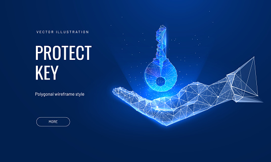 Digital key in hand in futuristic polygonal style. Privacy concept or problem solving. Vector abstract illustration, glowing hologram