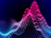 Digital landscape with flowing dots. 3D particle sound waves