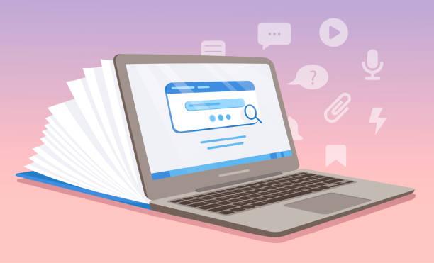 stockillustraties, clipart, cartoons en iconen met digitale laptop die als notitieboekje wordt afgeschilderd - e learning