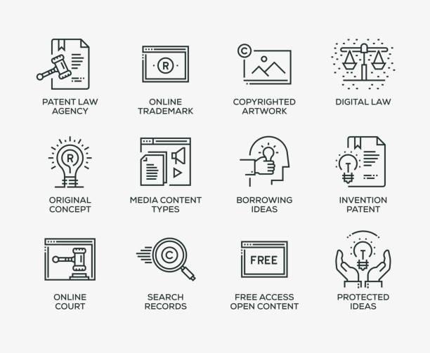 Digital Law Icon Set - Line Series Digital Law Icon Set - Line Series intellectual property stock illustrations
