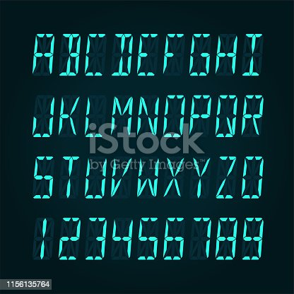 Digital LCD display font - vector illudtration