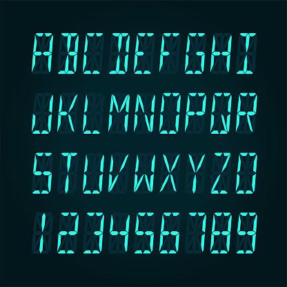 Digital LCD display font - vector illudtration