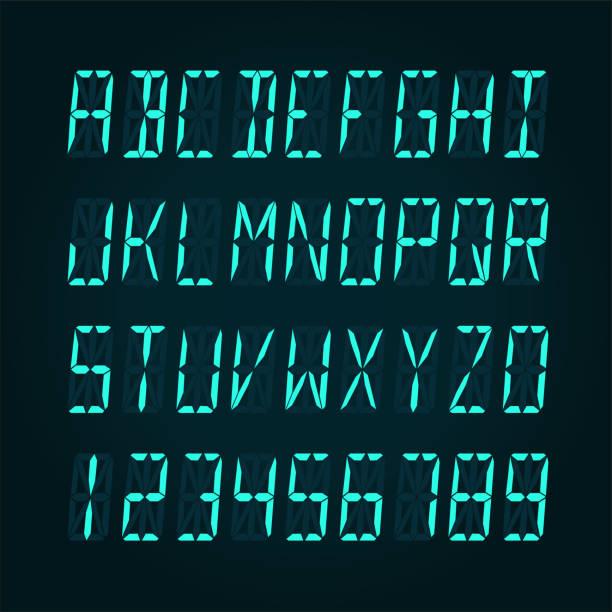 ilustrações de stock, clip art, desenhos animados e ícones de digital lcd display font - vector illudtration - led painel