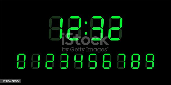Green digital glowing numbers for Lcd electronic devices screen isolated on black background. Clock, timer concept. Vector Illustration