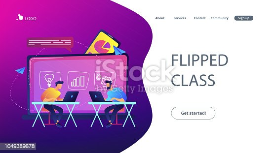 Students with laptops sitting behind interactive board with data. Digital, mobile, e-learning, flipped class, smart classroom. Modern education and virtual learning. Website landing web page template.