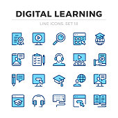 Digital learning vector line icons set. Thin line design. Outline graphic elements, simple stroke symbols. Digital learning icons