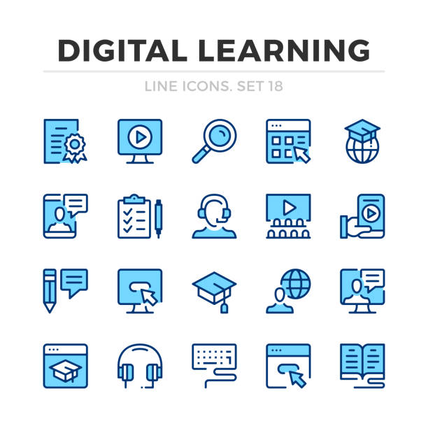 ilustrações de stock, clip art, desenhos animados e ícones de digital learning vector line icons set. thin line design. outline graphic elements, simple stroke symbols. digital learning icons - webinar anuncio