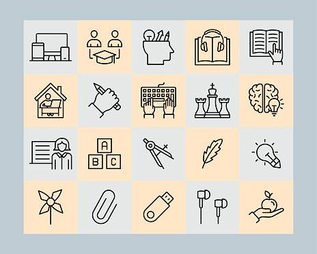 Digital learning vector line icons set