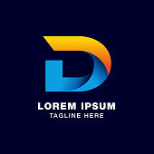 digital letter D icon symbol template in gradients style. blue, yellow, and orange color
