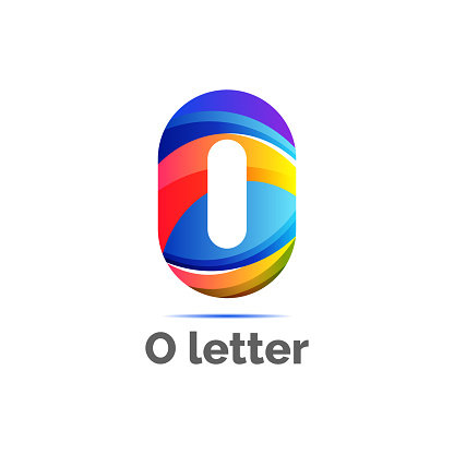 Digital letter O icon symbol template in gradients style. blue, yellow, and orange color