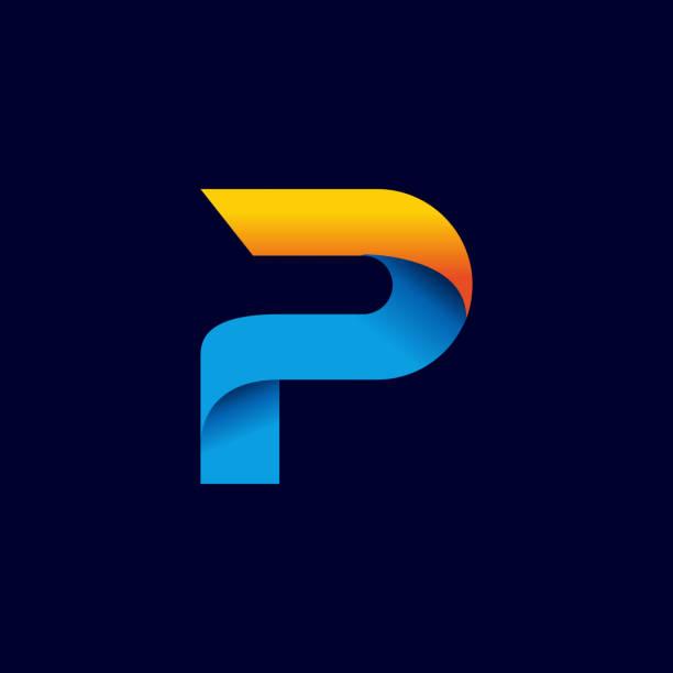 stockillustraties, clipart, cartoons en iconen met digitale letter p pictogram symbool sjabloon in verlopen stijl. blauwe, gele en oranje kleur - letter p