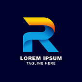 digital letter R icon symbol template in gradients style. blue, yellow, and orange color