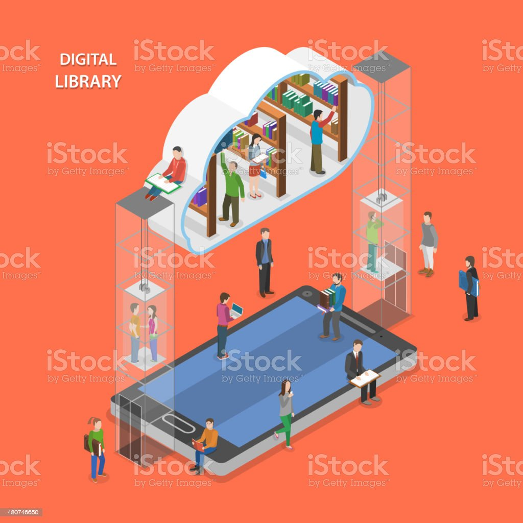 Digital library flat isometric vector concept. vector art illustration