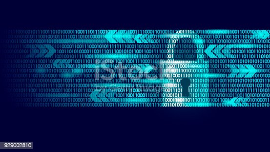 Digital lock guard sign binary code number. Big data personal information safety technology closed padlock. Blue glowing abstract web internet electronic payment vector illustration art