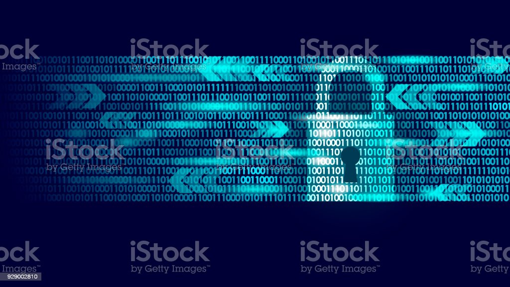Digital lock guard sign binary code number. Big data personal information safety technology closed padlock. Blue glowing abstract web internet electronic payment vector illustration vector art illustration