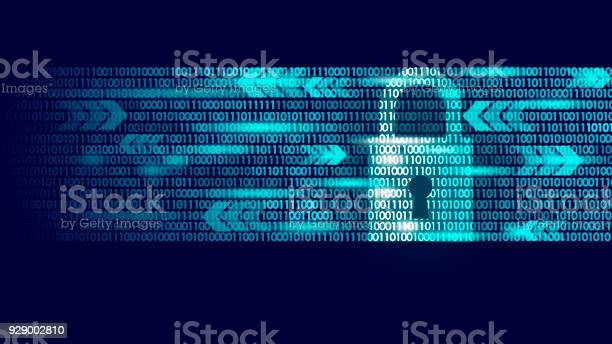 Digital Lock Guard Sign Binary Code Number Big Data Personal Information Safety Technology Closed Padlock Blue Glowing Abstract Web Internet Electronic Payment Vector Illustration - Arte vetorial de stock e mais imagens de Abstrato