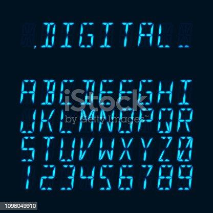 Digital luminous 16-segmented lcd display font