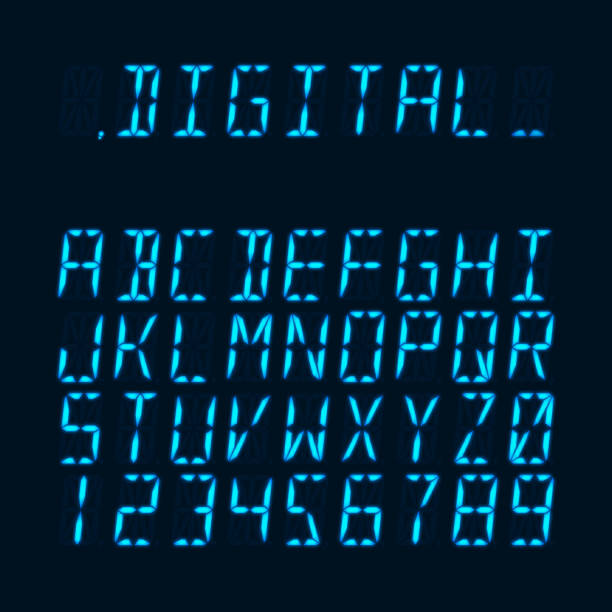 ilustrações de stock, clip art, desenhos animados e ícones de digital luminous 16-segmented lcd display font - led painel