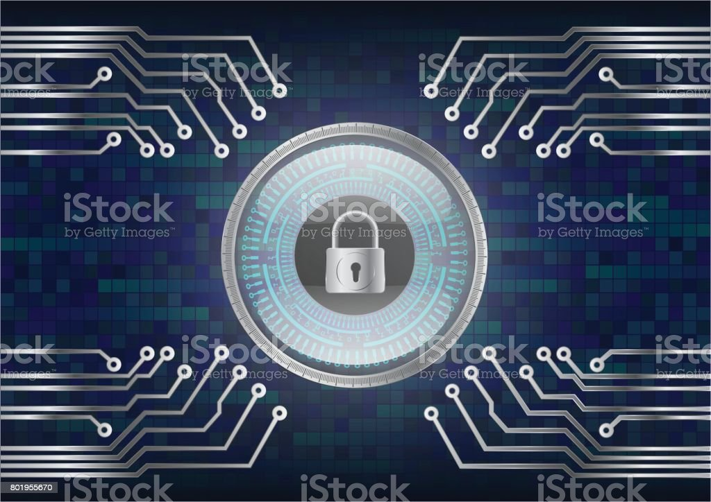 Digital Magnifying Glass scanning and identifying data; computer security concept vector art illustration