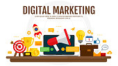 Digital marketing and digital advertising concept.