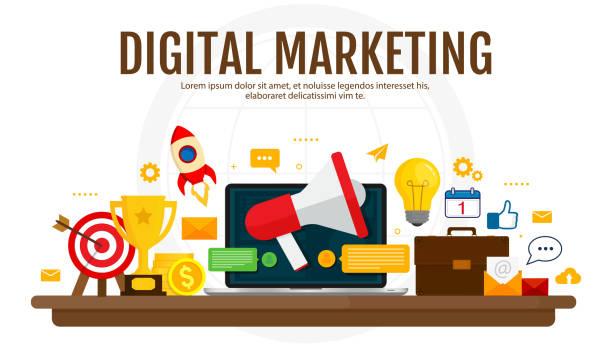 Digital marketing and digital advertising concept. Media promotion, social network, SEO. Isolated flat illustration on white background. vector art illustration