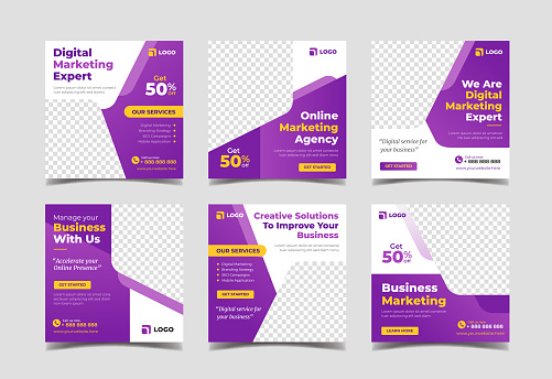 Digital marketing banner for social media post template