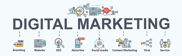 digital marketing banner web icon for business and social media marketing, content marketing, website, viral, seo, keyword, advertise and internet online marketing. Minimal vector infographic.