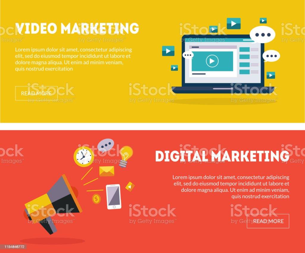 Digital Marketing Banners Set, Business Strategy, Analytics, Online...