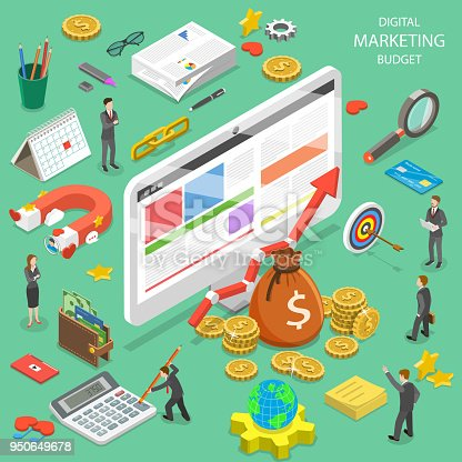 istock Digital marketing budget flat isometric vector. 950649678