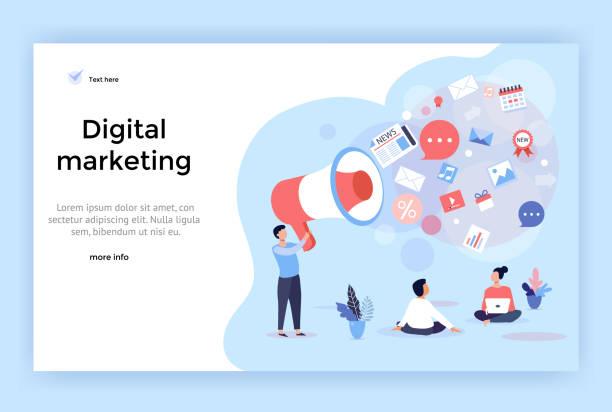 illustrazioni stock, clip art, cartoni animati e icone di tendenza di digital marketing concept illustration. - focus group