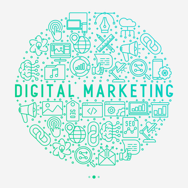 digital marketing concept in circle with thin line icons: searching idea, development, optimization, management, communication. vector illustration for banner, web page, print media. - digital marketing stock illustrations