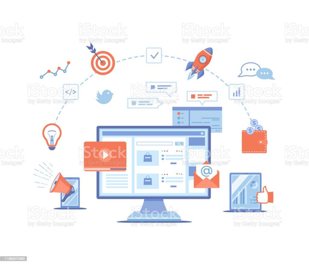 Digital Marketing Concept Landing Page Template Business ...