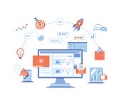 Digital Marketing concept. Landing page template. Business analysis, targeting, management. Social network and media communication. SEO, SEM. Vector illustration on white background.