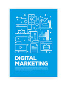 Digital Marketing Concept Line Style Cover Design for Annual Report, Flyer, Brochure.