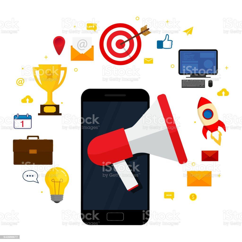 Digital marketing concept. Megaphone on screen smartphone isolated on white background. Vector illustration. Flat design. vector art illustration